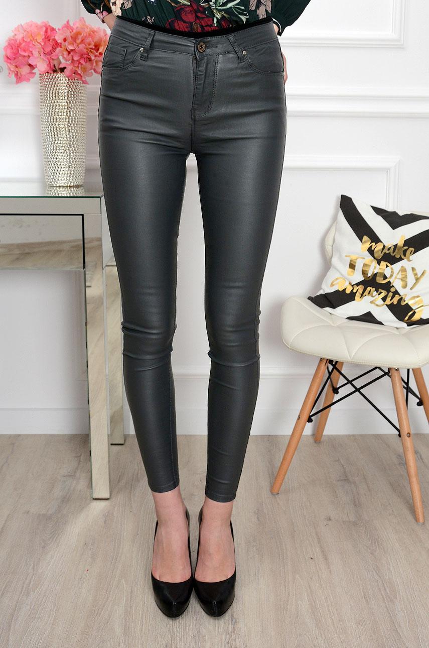 Tamprios odos imitacijos kelnės Goodies Leather Dark Grey goodies kelnes jeans dzinsai