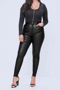 Didesnių dydžių odos imitacijos kelnės +plus Goodies Black