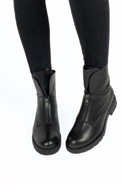Odiniai aulinukai su vilna KARINO Black boots leather winter warm shoes boots zieminiai silti