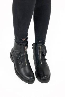 Odiniai aulinukai su vilna KARINO Black Fly winter shoes brand Karino warm boots batai zieminiai silti vilna