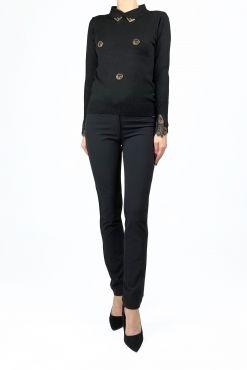 Klasikinės kelnės slidžiu audiniu Vera Black KNEES klasikines kelnes didesniu dydziu aptempiancios juodos slidus audinys