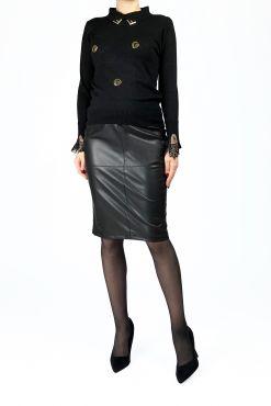 dirbtines odos sijonas midi black odos imitacijos sijonas