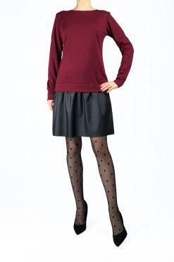 Trikotažinė laisvalaikio suknelė KOLI Bordo dirbtines odos sijonas odos imitacijos leather skirt casual dress bordo red dress