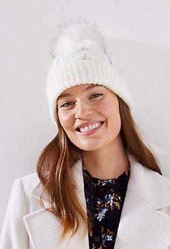 Šilta megzta kepurė su kailiniu bumbulu WHITE warm hats pom pom