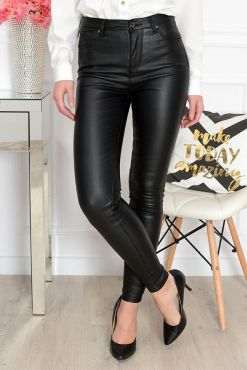 Odos imitacijos kelnės Goodies Leather Black Medium Waist faux pants black