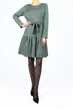 Trikotažinė Trapecijos formos suknelė IZABELA light green varpelio formos silueto sviesiai zalia light green trapeze dress