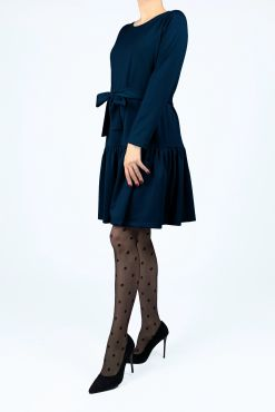 Trikotažinė trapecijos formos suknelė IZABELA dark blue XS-4XL melyna suknele tamsiai melyna trikotazas knit knited dress
