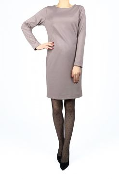 Klasikinė trikotažinė suknelė DAFNE beige knit dress pastel beige classic dress