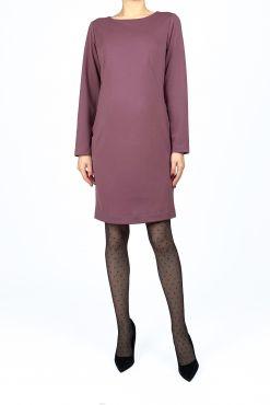Klasikinė trikotažinė suknelė DAFNE lilac tiesus modelis liemenuota iliemenuota lilac dress alyvine suknele