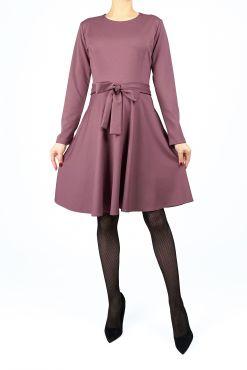 Klasikinė trikotažinė suknelė KRISTI lilac alyvine suknele trikotazas knit dress kliosas klostuota