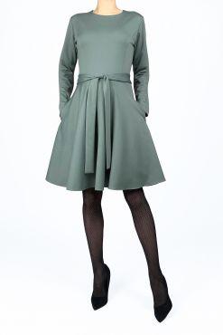 Klasikinė trikotažinė suknelė KRISTI light green knit dress sviesi zalia pasteline zalia stilinga suknele kliosas kliosine