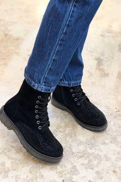 Aulinukai su blizgiais akmenukais KAILA Black juodi aulinukai black shoes boots blizgantys