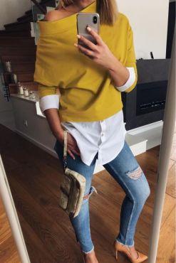Laisvalaikio megztinis su marškiniais ILPIU Yellow casual sweater
