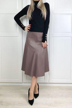 Dirbtinės odos sijonas KATE CACAO faux skirt