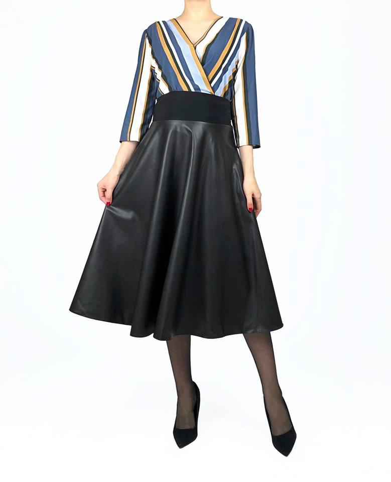 Dirbtinės odos vidutinio ilgio sijonas goodlook.shop black faux leather skirt