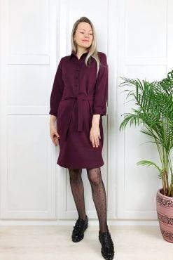 Shirt style dress with strap STELLA bordo marskineliu tipo modelio bordo suknele su dirzeliu