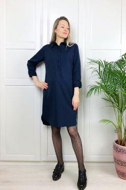 Marškinėlių tipo suknelė STELLA dark blue dress shirt style