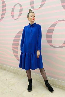 Stilinga trapecijos formos suknelė STOTI real blue ryski melyna suknele varpelio formos trapecijos laisvo modelio