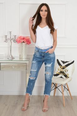 Šviesūs plėšyti džinsai BOYFRIEND EXTRA RIPPING jeans