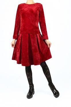 bamboo velvet suit costume set skirt and blouse complect kostiumas veliurinis veliuro barhato raudonas ryskus Bambukinio veliūro kostiumėlis LETI red