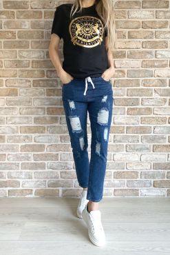 Laisvalaikio džinsai su guma PARIS STYLE jeans casualm eisure mom boyfriend