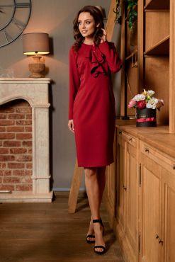 Klasikinė dalykinė suknelė DORIS burgund dress ruffles