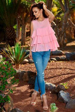 Palaidinė su klostėmis FRILL powder pink blouse