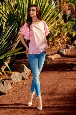 Palaidinė trumpomis rankovėmis RUFFLES powder pink blouse