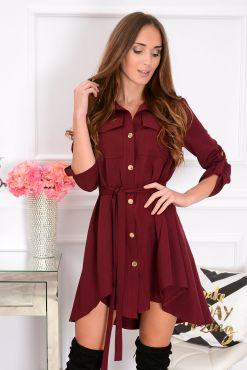 Stilinga asimetrinė suknelė Laura bordo dress asymmetrical red