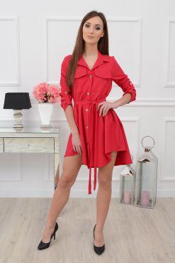 Stilinga asimetrinė suknelė Laura coral red dress raudona koraline