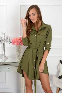 Stilinga asimetrinė suknelė Laura khaki dress suknele zalia