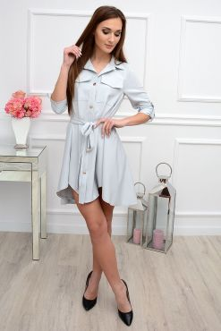 Stilinga asimetrinė suknelė Laura light grey dress sviesi suknele