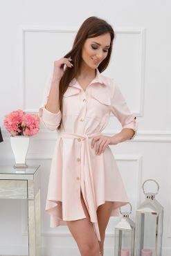 Stilinga asimetrinė suknelė Laura poudre rose pudrine rozine sviesi dress