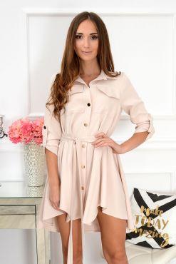 Stilinga asimetrinė suknelė Laura nude dress light sviesi