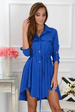 Stilinga asimetrinė suknelė Laura real blue melyna suknele dress