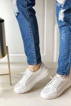 Odiniai laisvalaikio bateliai EASY LIFE white leather shoes