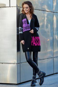 Kardiganas BLONDE or BRUNETTE black cardigan knitted blondine brunete