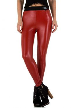 Odos imitacijos kelnės DAYSIE RED faux leather red trouser pants raudonos kelnes leginsai leggings