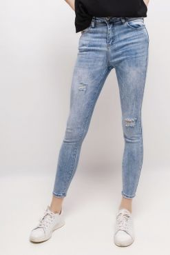 Šviesūs džinsai LAULIA light blue ripping jeans