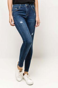 Ilgi džinsai aukštu liemeniu LAULIA ripping jeans blue melyni dzinsai