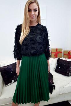 Dirbtinės odos sijonas su klostėmis ZUZU midi green skirt faux leather zalias