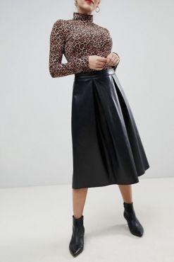 Dirbtinės odos sijonas DONA BLACK & CACAO midi skirt faux leather