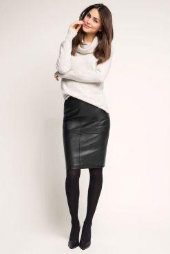 Dirbtinės odos sijonas MONA black faux leather skirt