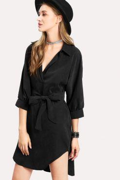 Marškinėlių tipo suknelė STELLA black shirt style dress juoda suknele su sagutemis marskineliu tipo formos