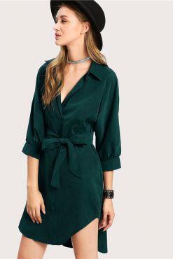 Marškinėlių tipo suknelė STELLA dark green dress shirt