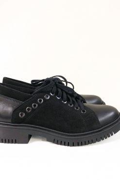 Odiniai laisvalaikio bateliai RIVET BLACK leather shoes