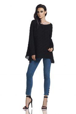 Megztinis su šifonu GILI BLACK one size sweater