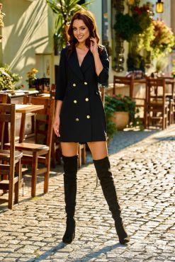 Mini suknelė švarkas LORA black suit jacket dress