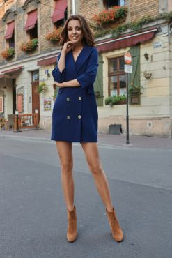 Mini suknelė švarkas LORA Blue suit jacket dress