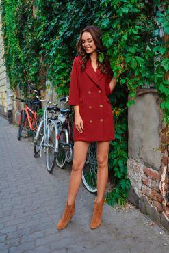 Mini suknelė švarkas LORA BURGUND jacket dress suit